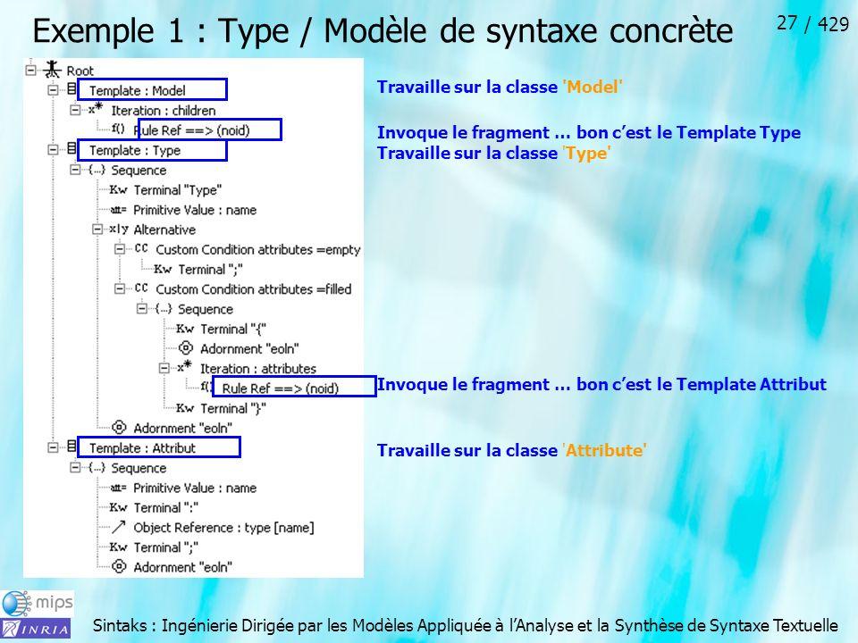 Sintaks : Ingénierie Dirigée par les Modèles Appliquée à lAnalyse et la Synthèse de Syntaxe Textuelle / 429 27 Exemple 1 : Type / Modèle de syntaxe co