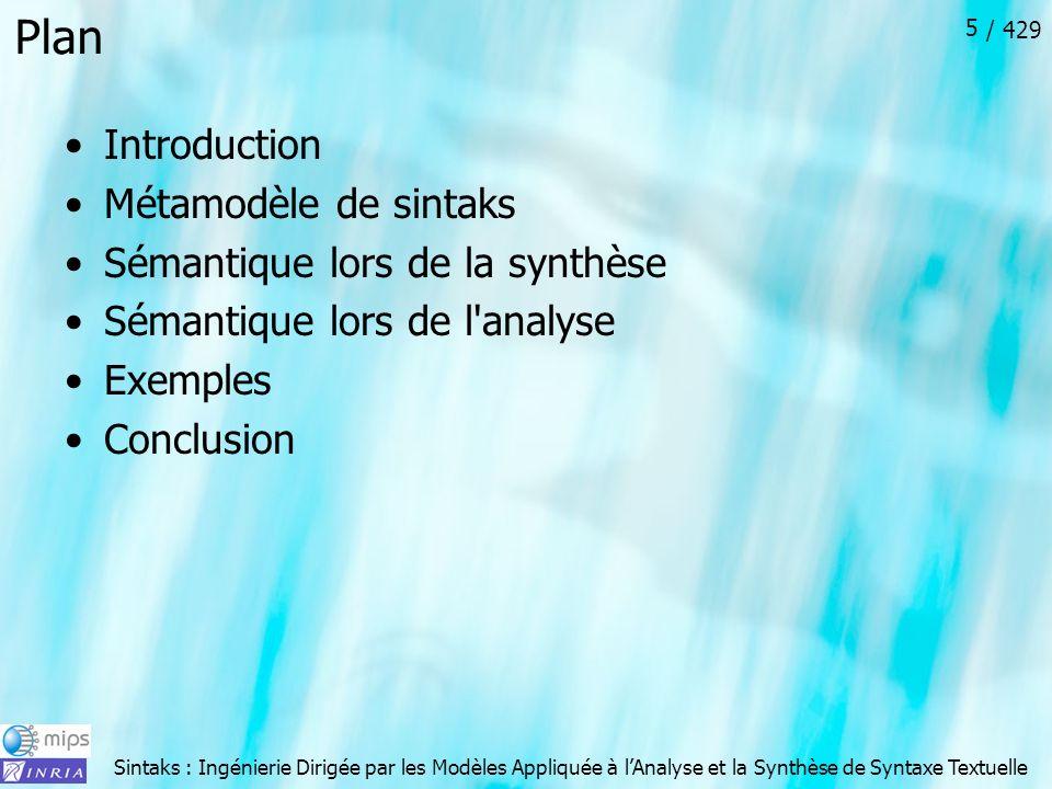 Sintaks : Ingénierie Dirigée par les Modèles Appliquée à lAnalyse et la Synthèse de Syntaxe Textuelle / 429 6 Introduction - Motivation En général : Comment créer un modèle conforme à un métamodèle Il existe des outils pour faire des métamodèles Tous l outillage autour de ecore Il existe des outils pour faire des modèles Tous l outillage généré avec ecore Dans le cadre de la création/lecture de programme conforme à un métamodèle Grammarware : compilateur (text -> AST -> Model) Modelware : text Model