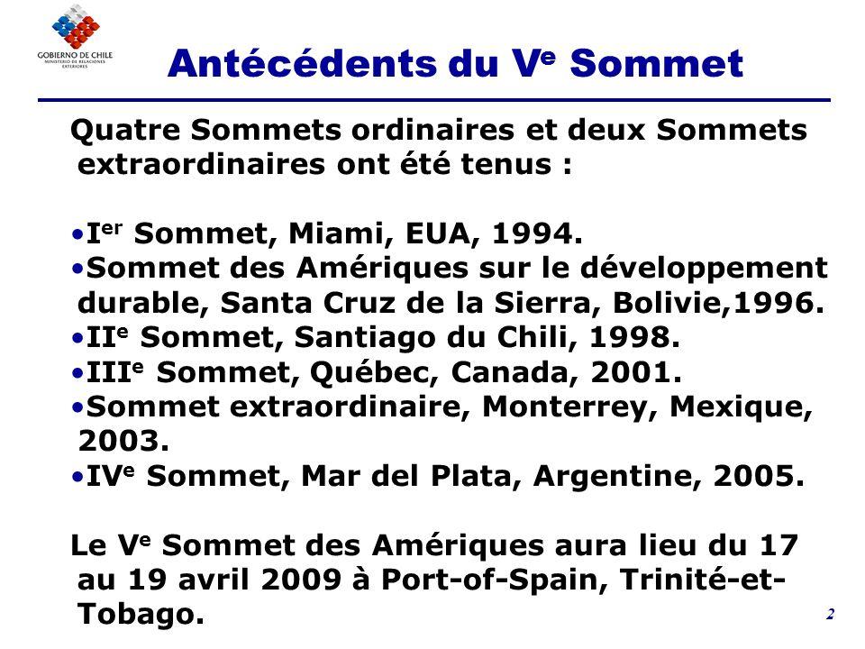 2 Quatre Sommets ordinaires et deux Sommets extraordinaires ont été tenus : I er Sommet, Miami, EUA, 1994.