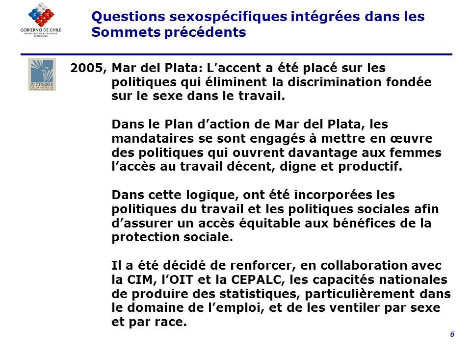 6 2005, Mar del Plata: Laccent a été placé sur les politiques qui éliminent la discrimination fondée sur le sexe dans le travail.