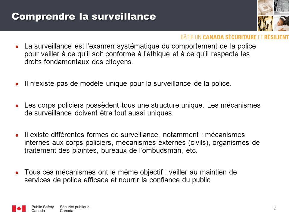 1 Importance de la surveillance La surveillance de la police est un élément intégral du maintien de lordre qui augmente lefficacité des corps policiers et garantit la confiance du public envers lapplication de la loi.