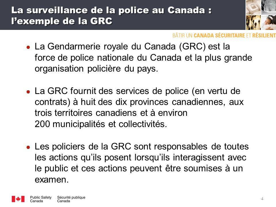 3 La surveillance de la police au Canada Le Canada compte des services de police fédéraux, provinciaux et municipaux.
