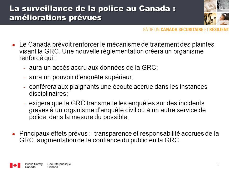 5 La surveillance de la police au Canada : lexemple de la GRC (suite) Le mécanisme canadien de surveillance de la GRC est la Commission des plaintes du public contre la GRC (CPP).