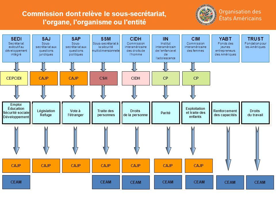 Commission dont relève le sous-secrétariat, l'organe, l'organisme ou l'entité SAJ Sous- secrétariat aux questions juridiques SEDI Secrétariat exécutif