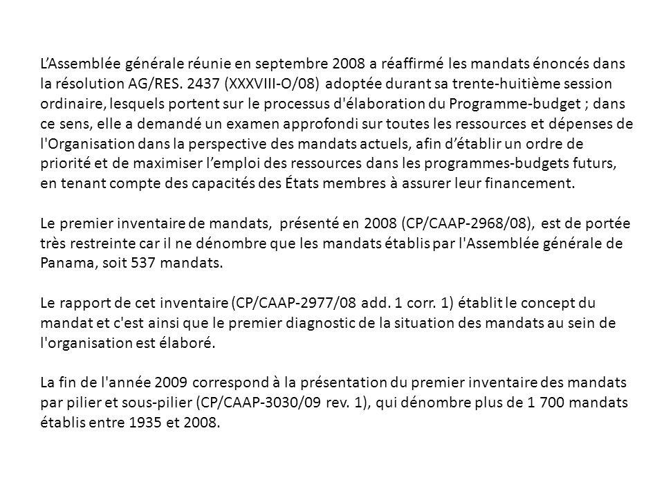 LAssemblée générale réunie en septembre 2008 a réaffirmé les mandats énoncés dans la résolution AG/RES.