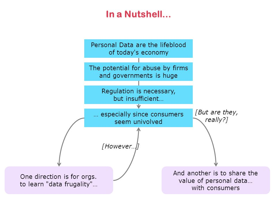 In a Nutshell… Personal Data are the lifeblood of today's economy The potential for abuse by firms and governments is huge Regulation is necessary, bu