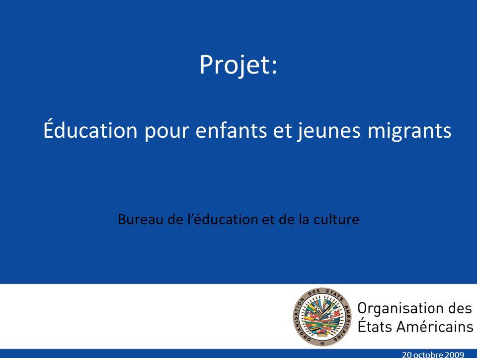 Insert title here Insert text here Projet: Éducation pour enfants et jeunes migrants Bureau de léducation et de la culture 20 octobre 2009
