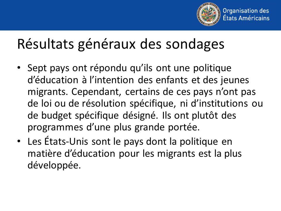 Sept pays ont répondu quils ont une politique déducation à lintention des enfants et des jeunes migrants.