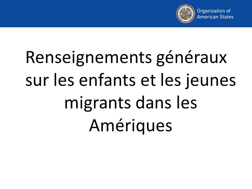 Renseignements généraux sur les enfants et les jeunes migrants dans les Amériques