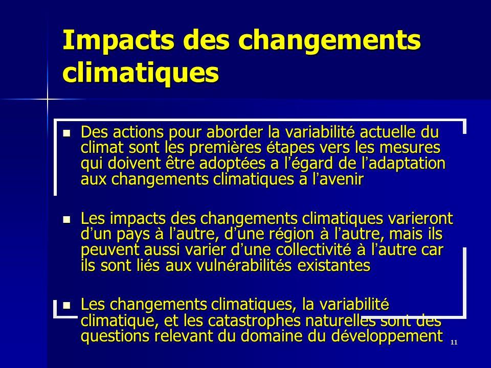 11 Impacts des changements climatiques Des actions pour aborder la variabilit é actuelle du climat sont les premi è res é tapes vers les mesures qui d