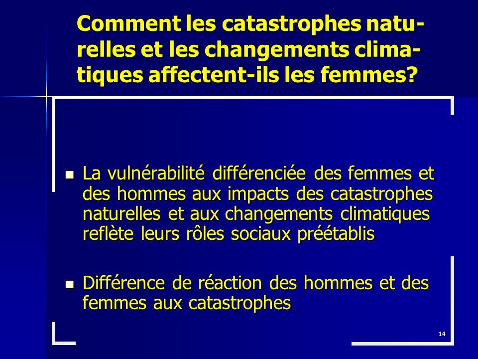 14 La vulnérabilité différenciée des femmes et des hommes aux impacts des catastrophes naturelles et aux changements climatiques reflète leurs rôles s