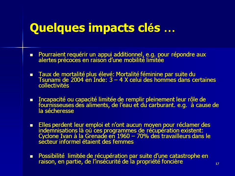 17 Quelques impacts cl é s … Pourraient requérir un appui additionnel, e.g. pour répondre aux alertes précoces en raison dune mobilité limitée Pourrai