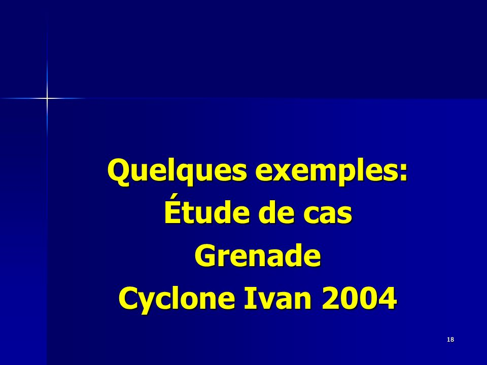 18 Quelques exemples: Étude de cas Grenade Cyclone Ivan 2004
