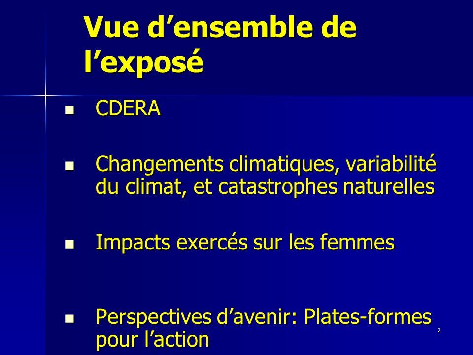 2 Vue densemble de lexposé CDERA CDERA Changements climatiques, variabilité du climat, et catastrophes naturelles Changements climatiques, variabilité