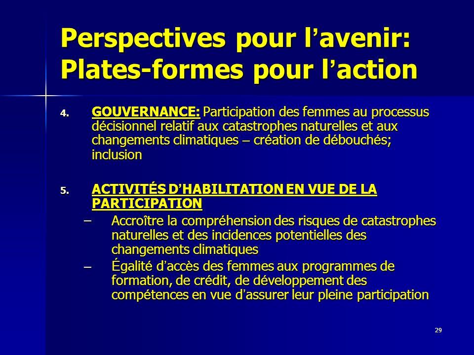 29 Perspectives pour l avenir: Plates-formes pour l action 4. GOUVERNANCE: Participation des femmes au processus d é cisionnel relatif aux catastrophe