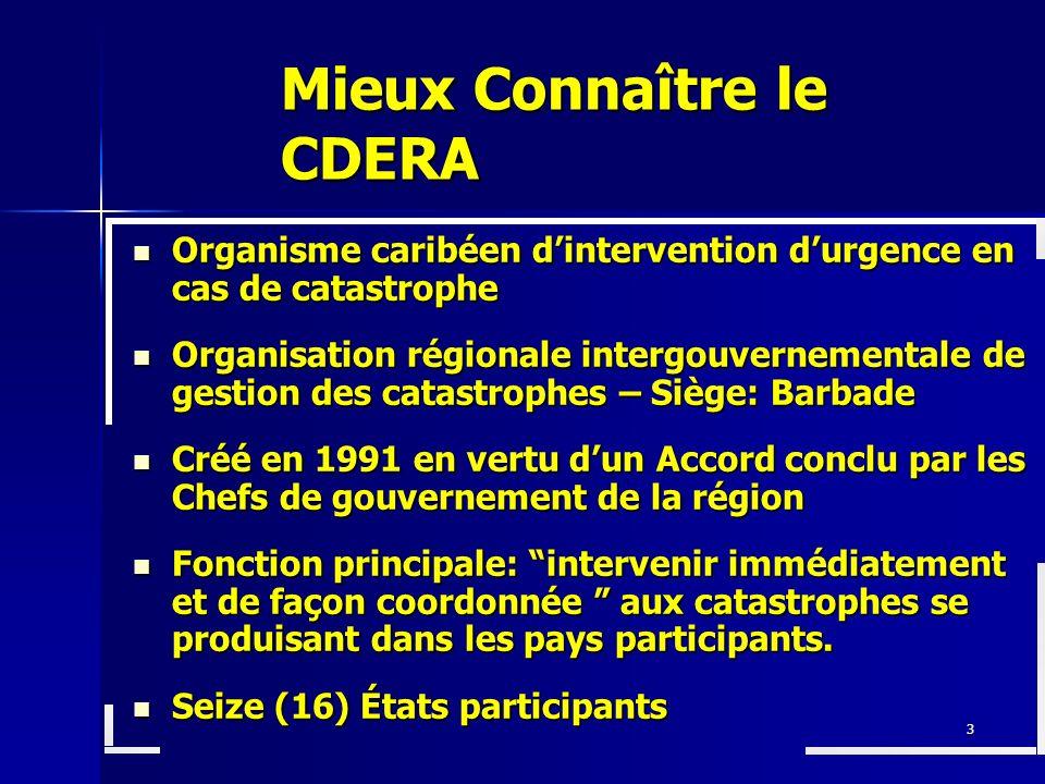 3 Mieux Connaître le CDERA Organisme caribéen dintervention durgence en cas de catastrophe Organisme caribéen dintervention durgence en cas de catastr