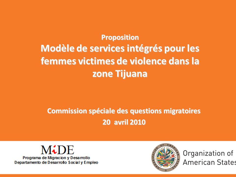 Proposition Modèle de services intégrés pour les femmes victimes de violence dans la zone Tijuana Commission spéciale des questions migratoires 20 avril 2010