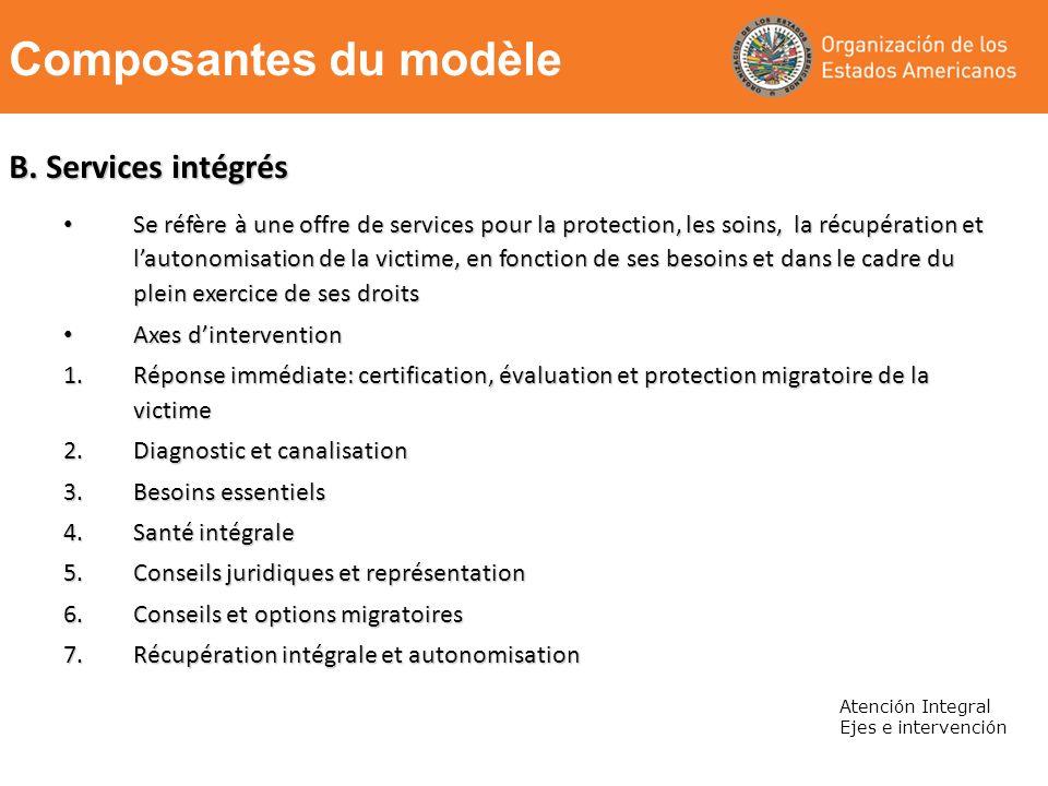 B. Services intégrés Se réfère à une offre de services pour la protection, les soins, la récupération et lautonomisation de la victime, en fonction de