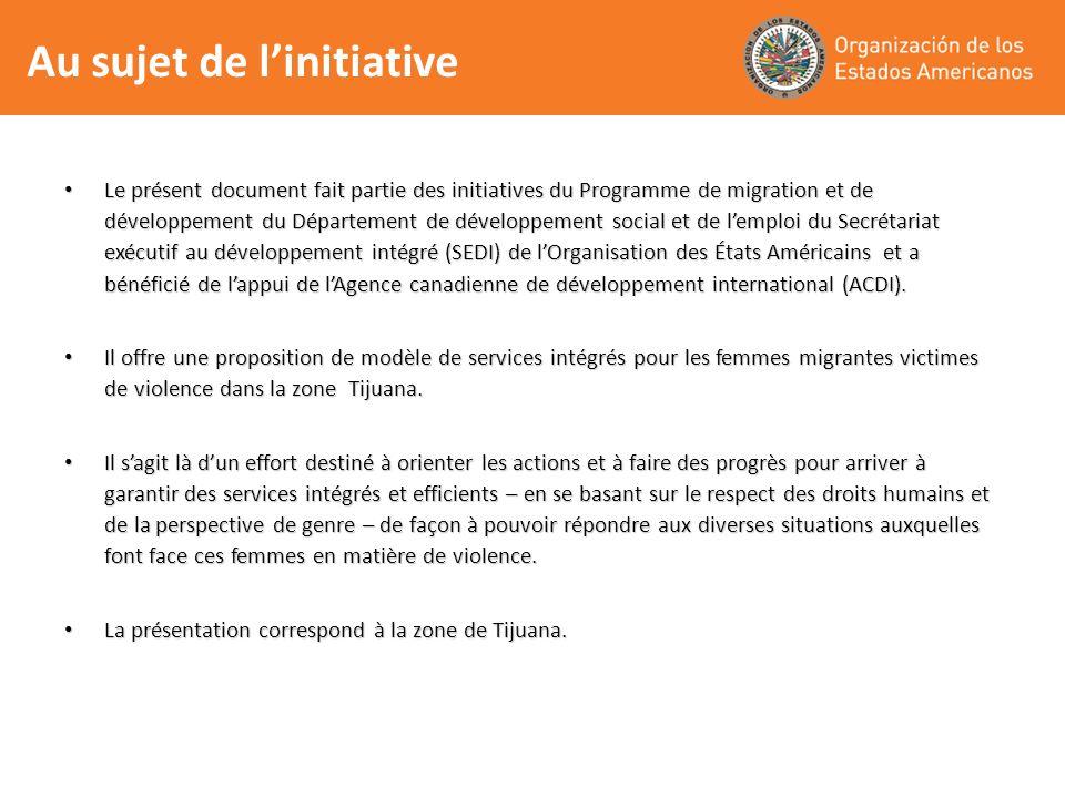 Sobre la iniciativa Le présent document fait partie des initiatives du Programme de migration et de développement du Département de développement social et de lemploi du Secrétariat exécutif au développement intégré (SEDI) de lOrganisation des États Américains et a bénéficié de lappui de lAgence canadienne de développement international (ACDI).