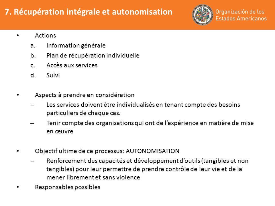 7. Récupération intégrale et autonomisation Actions Actions a.Information générale b.Plan de récupération individuelle c.Accès aux services d.Suivi As