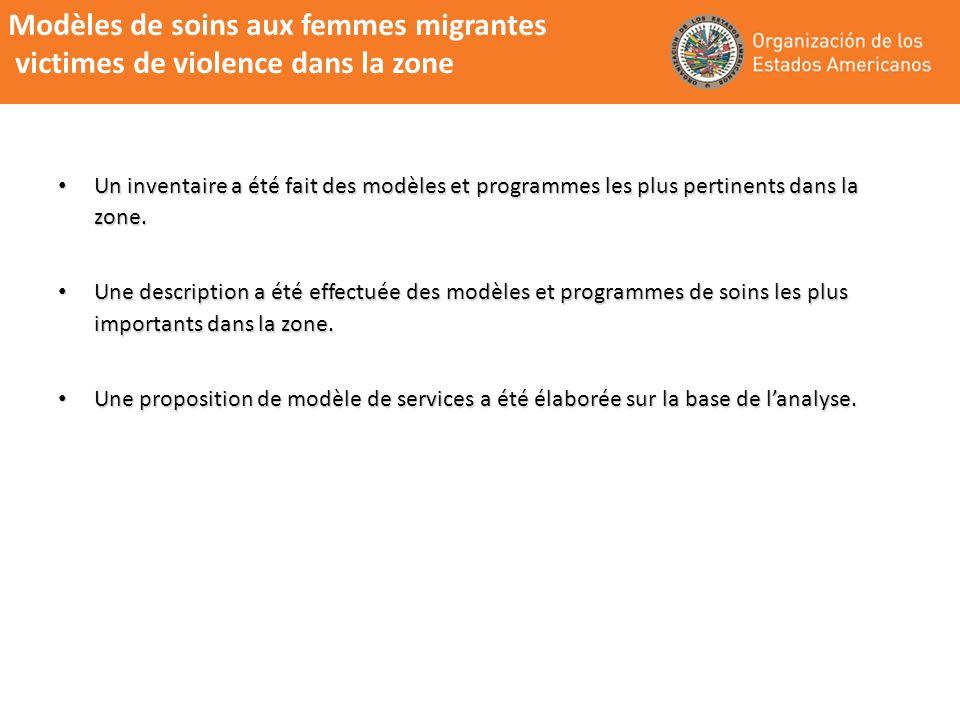 Modèles de soins aux femmes migrantes victimes de violence dans la zone Un inventaire a été fait des modèles et programmes les plus pertinents dans la zone.