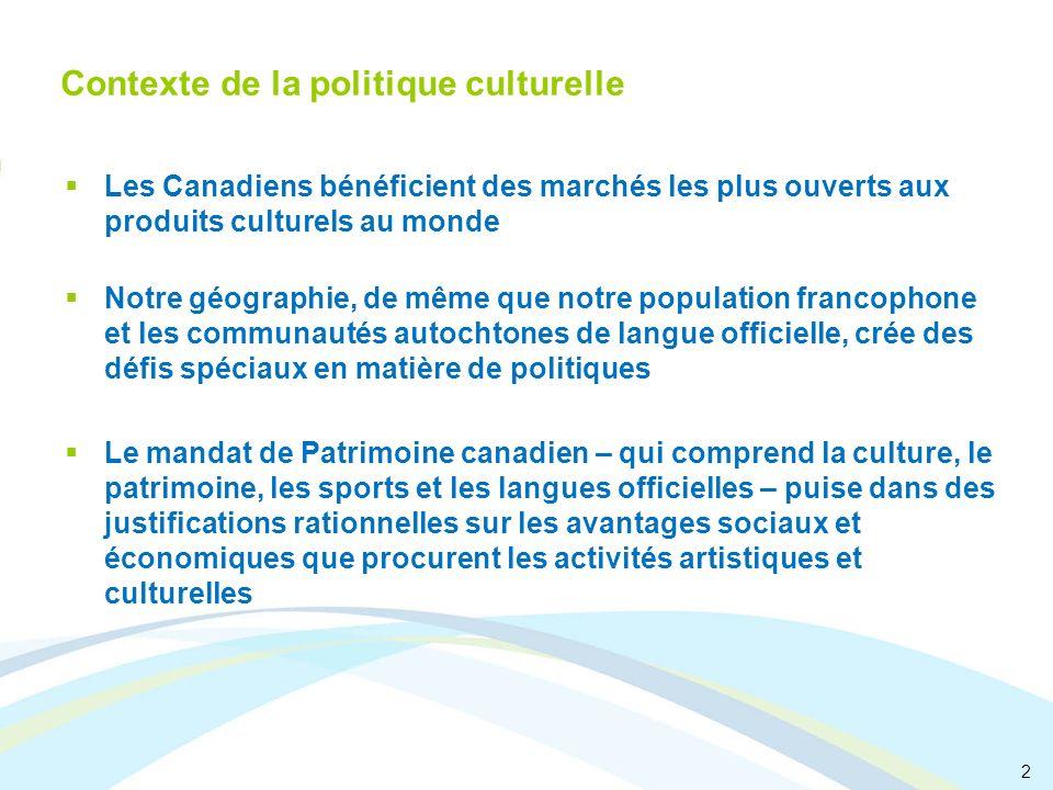 2 Contexte de la politique culturelle Les Canadiens bénéficient des marchés les plus ouverts aux produits culturels au monde Notre géographie, de même
