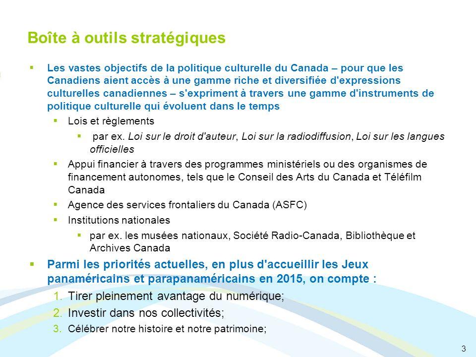 3 Boîte à outils stratégiques Les vastes objectifs de la politique culturelle du Canada – pour que les Canadiens aient accès à une gamme riche et dive