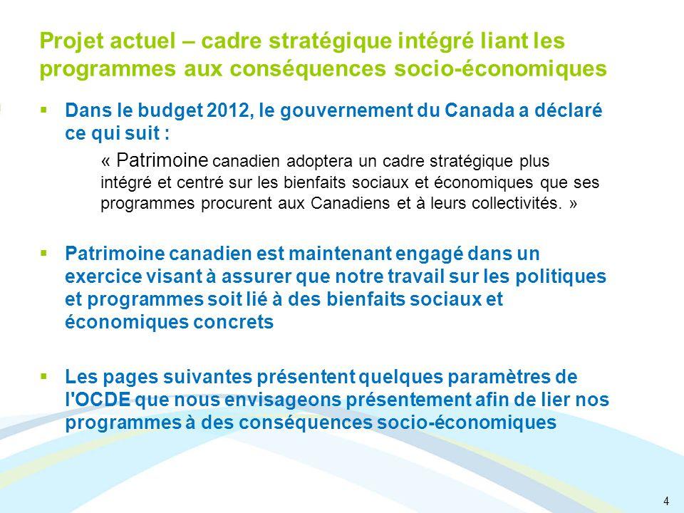 4 Projet actuel – cadre stratégique intégré liant les programmes aux conséquences socio-économiques Dans le budget 2012, le gouvernement du Canada a d
