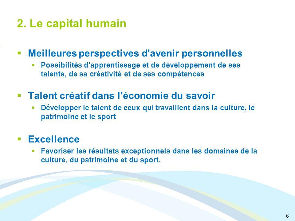 6 2. Le capital humain Meilleures perspectives d'avenir personnelles Possibilités d'apprentissage et de développement de ses talents, de sa créativité