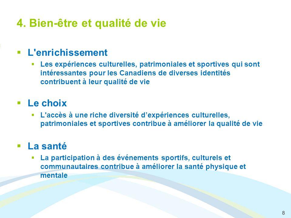 8 4. Bien-être et qualité de vie L'enrichissement Les expériences culturelles, patrimoniales et sportives qui sont intéressantes pour les Canadiens de