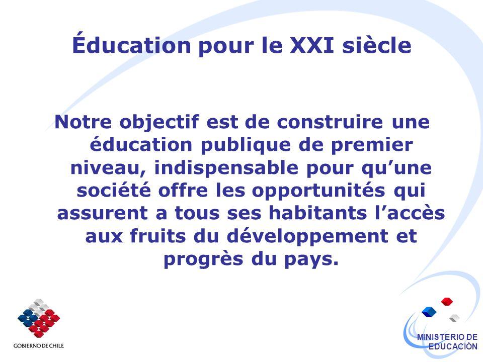MINISTERIO DE EDUCACIÓN Éducation pour le XXI siècle Notre objectif est de construire une éducation publique de premier niveau, indispensable pour quu