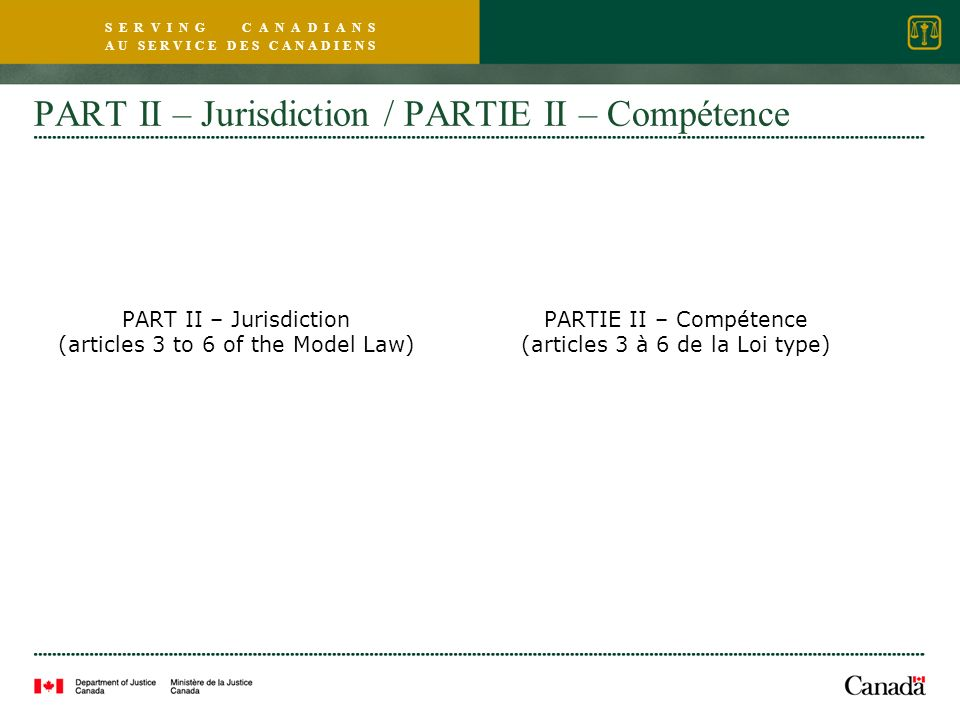 S E R V I N G C A N A D I A N S A U S E R V I C E D E S C A N A D I E N S PART II – Jurisdiction / PARTIE II – Compétence PART II – Jurisdiction (articles 3 to 6 of the Model Law) PARTIE II – Compétence (articles 3 à 6 de la Loi type)