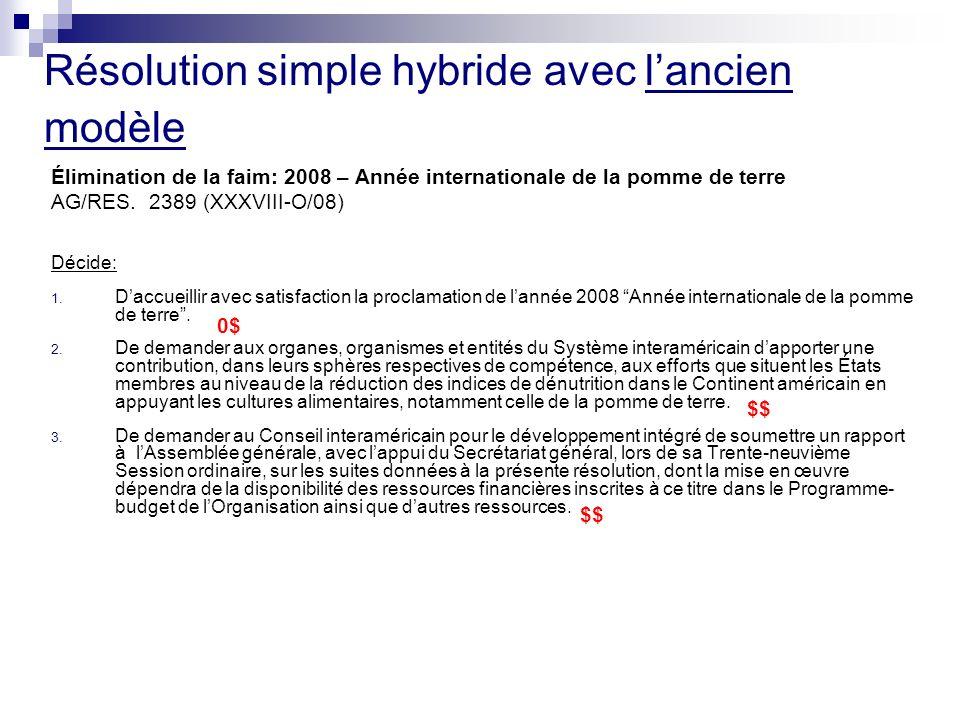 Résolution simple hybride avec lancien modèle Élimination de la faim: 2008 – Année internationale de la pomme de terre AG/RES.