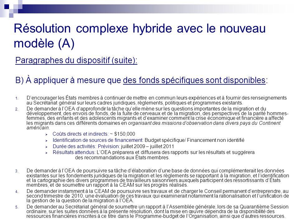 Résolution complexe hybride avec le nouveau modèle (A) Paragraphes du dispositif (suite): B) À appliquer à mesure que des fonds spécifiques sont disponibles: 1.