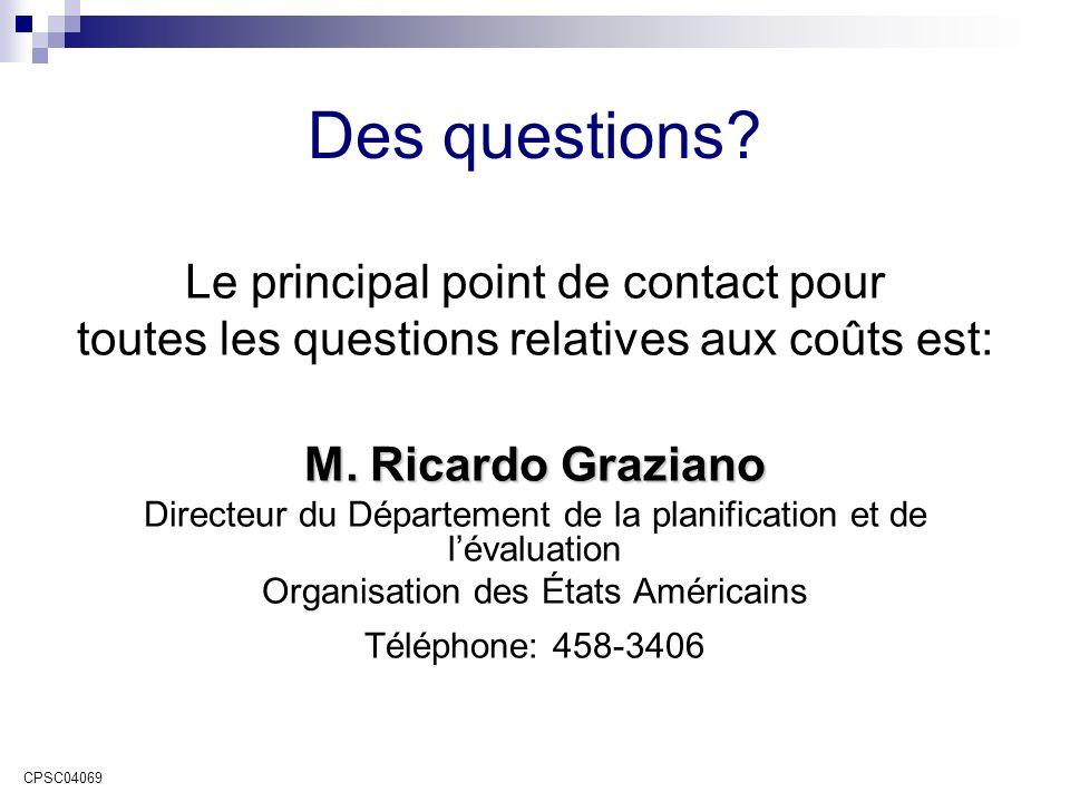 Des questions. Le principal point de contact pour toutes les questions relatives aux coûts est: M.