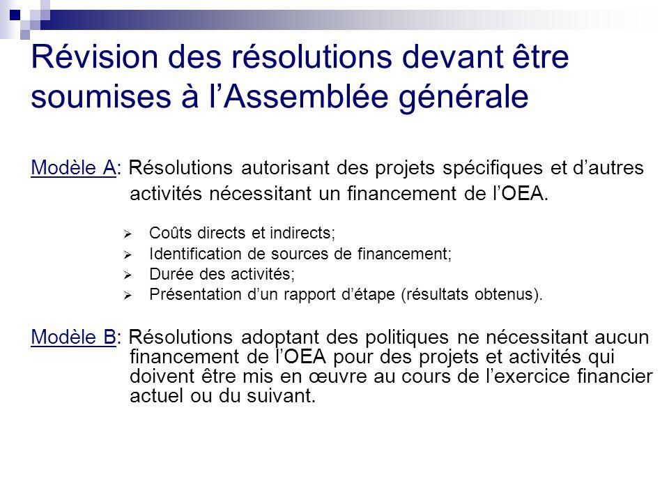 Révision des résolutions devant être soumises à lAssemblée générale Modèle A: Résolutions autorisant des projets spécifiques et dautres activités nécessitant un financement de lOEA.