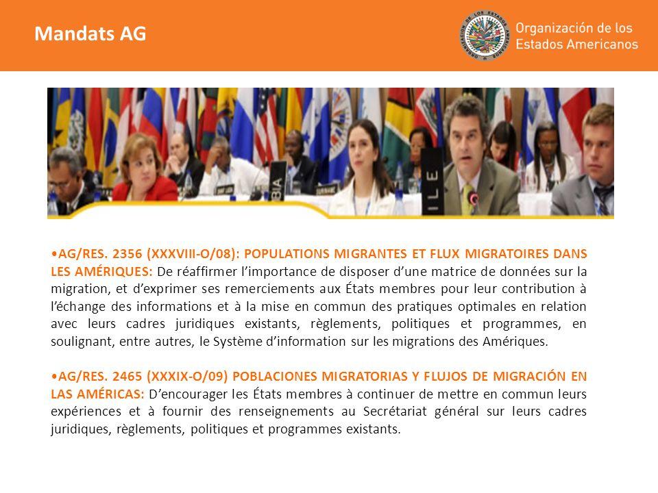 AG/RES. 2356 (XXXVIII-O/08): POPULATIONS MIGRANTES ET FLUX MIGRATOIRES DANS LES AMÉRIQUES: De réaffirmer limportance de disposer dune matrice de donné