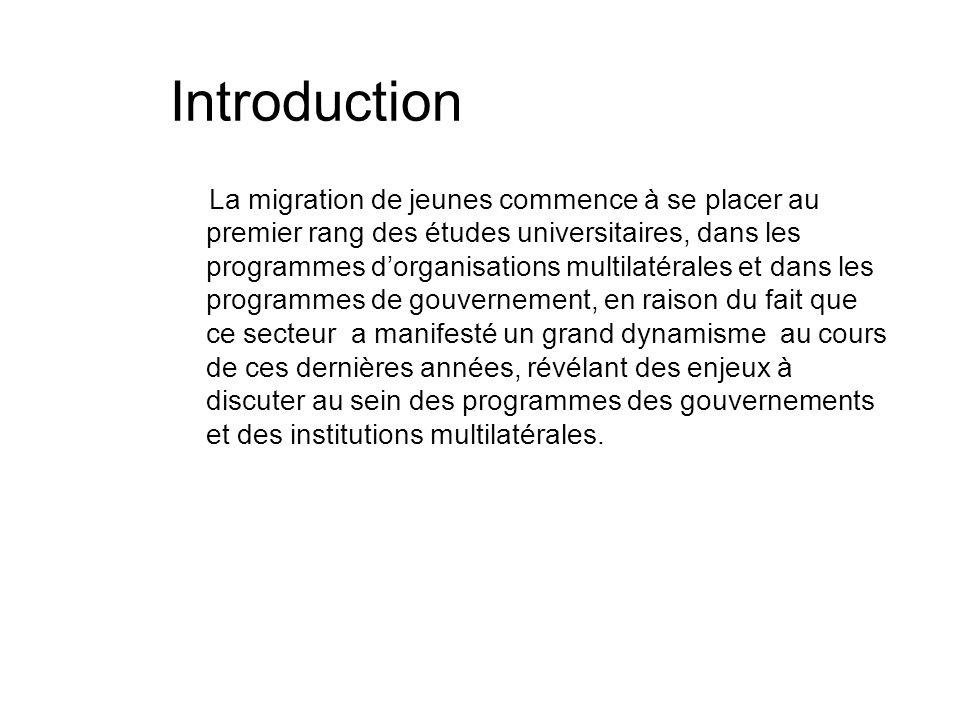 Introduction La migration de jeunes commence à se placer au premier rang des études universitaires, dans les programmes dorganisations multilatérales