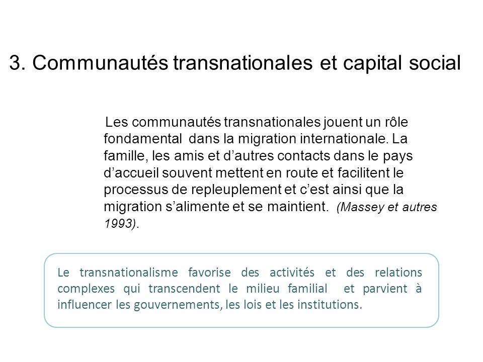 3. Communautés transnationales et capital social Les communautés transnationales jouent un rôle fondamental dans la migration internationale. La famil