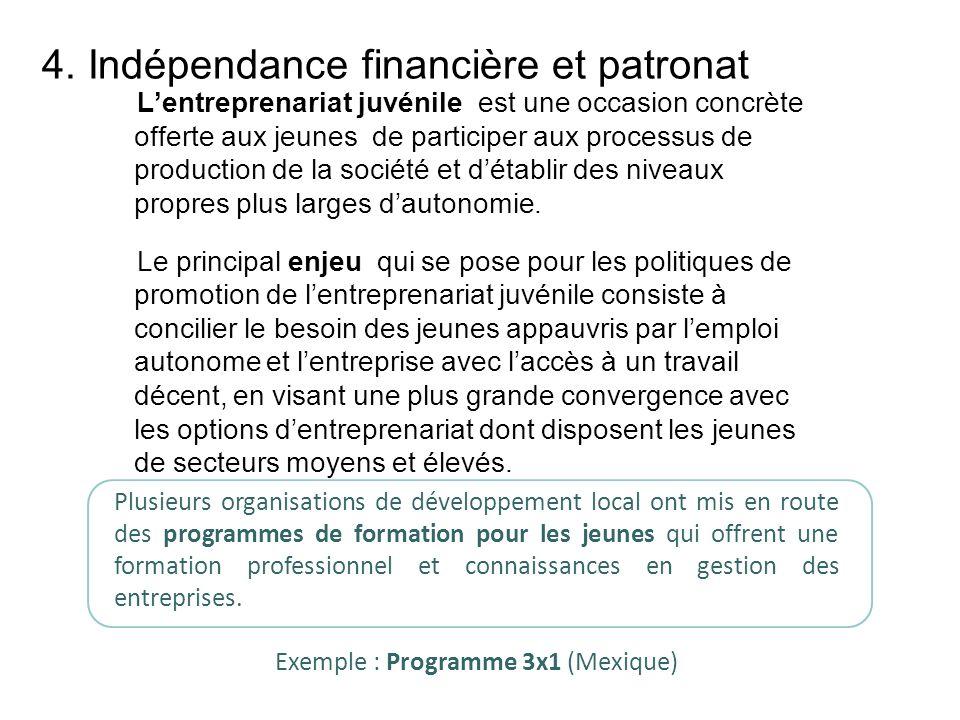 4. Indépendance financière et patronat Lentreprenariat juvénile est une occasion concrète offerte aux jeunes de participer aux processus de production