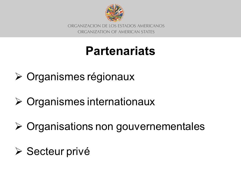 Partenariats Organismes régionaux Organismes internationaux Organisations non gouvernementales Secteur privé