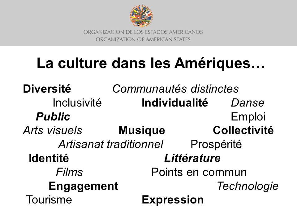 Un cadre stratégique pour une meilleure coopération culturelle dans les Amériques 1)Renforcement de la capacité institutionnelle Générer des richesses Promouvoir le développement Lutter contre linégalité