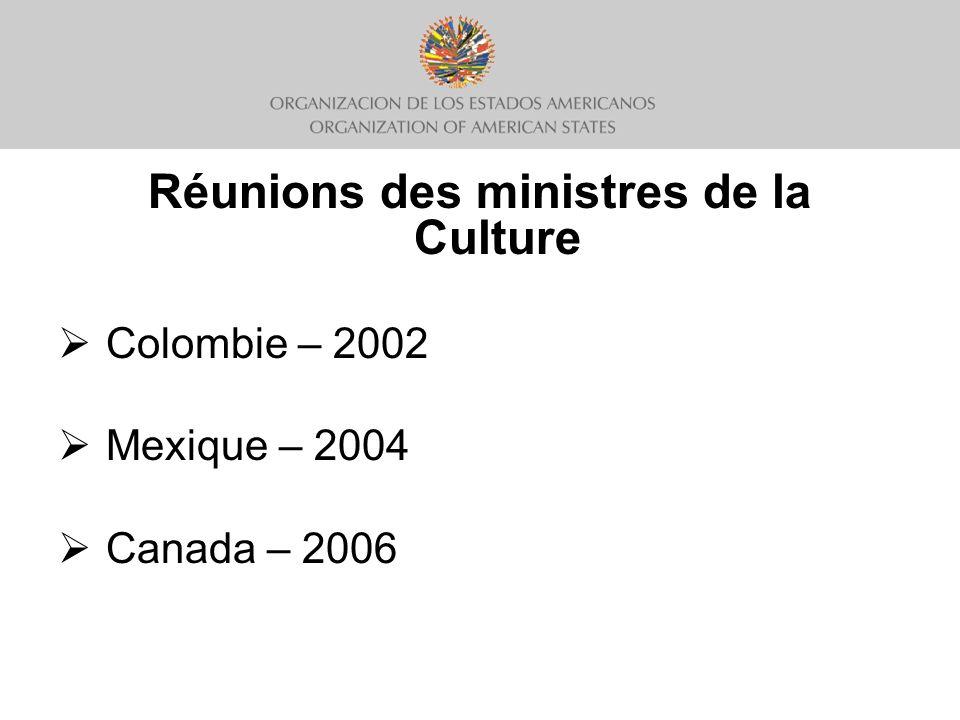 Réunions des ministres de la Culture Colombie – 2002 Mexique – 2004 Canada – 2006