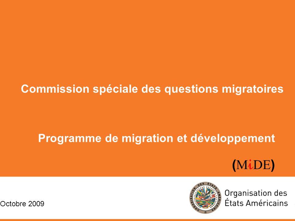 Programme de migration et développement ( M i DE ) Commission spéciale des questions migratoires Octobre 2009 Commission spéciale des questions migratoires Octobre 2009 Programme de migration et développement ( M i DE )