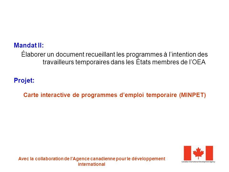 Mandat II: Élaborer un document recueillant les programmes à lintention des travailleurs temporaires dans les États membres de lOEA Projet: Carte interactive de programmes demploi temporaire (MINPET) PROGRAMME DE MIGRATION ET DÉVELOPPEMENT Avec la collaboration de lAgence canadienne pour le développement international