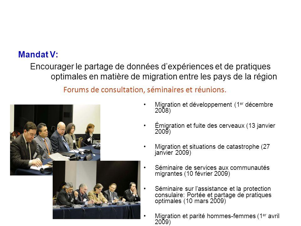 Mandat V: Encourager le partage de données dexpériences et de pratiques optimales en matière de migration entre les pays de la région PROGRAMME DE MIGRATION ET DÉVELOPPEMENT Forums de consultation, séminaires et réunions.
