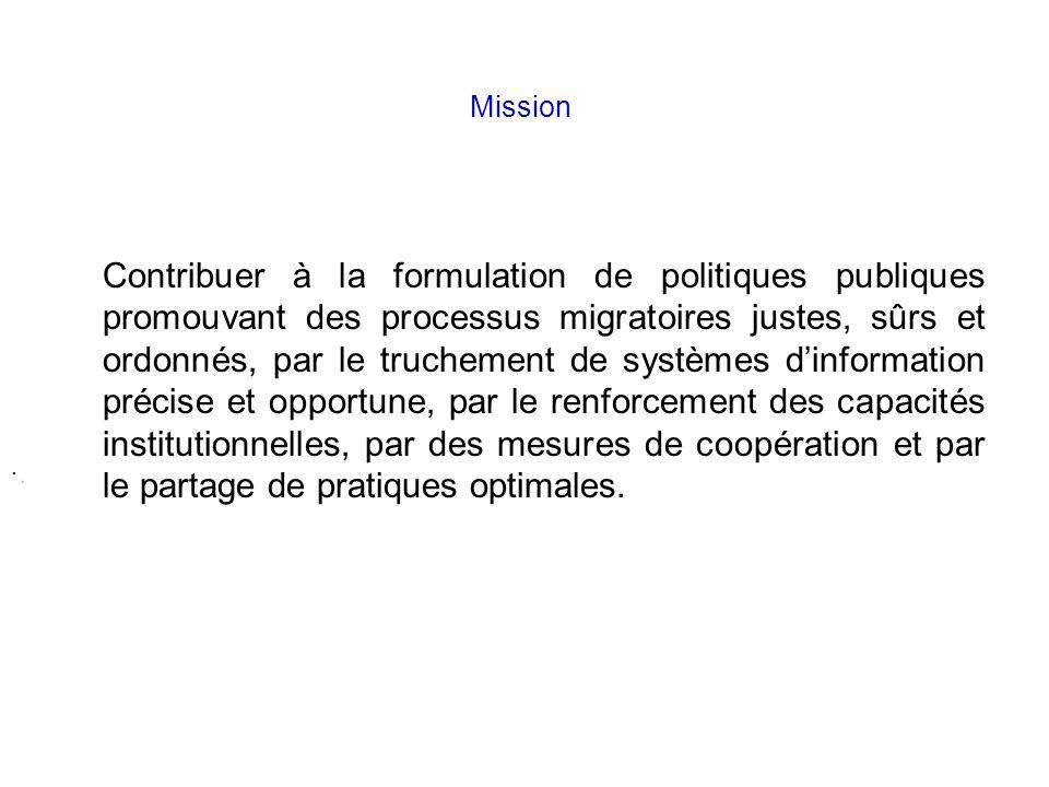 .. Mission Contribuer à la formulation de politiques publiques promouvant des processus migratoires justes, sûrs et ordonnés, par le truchement de sys