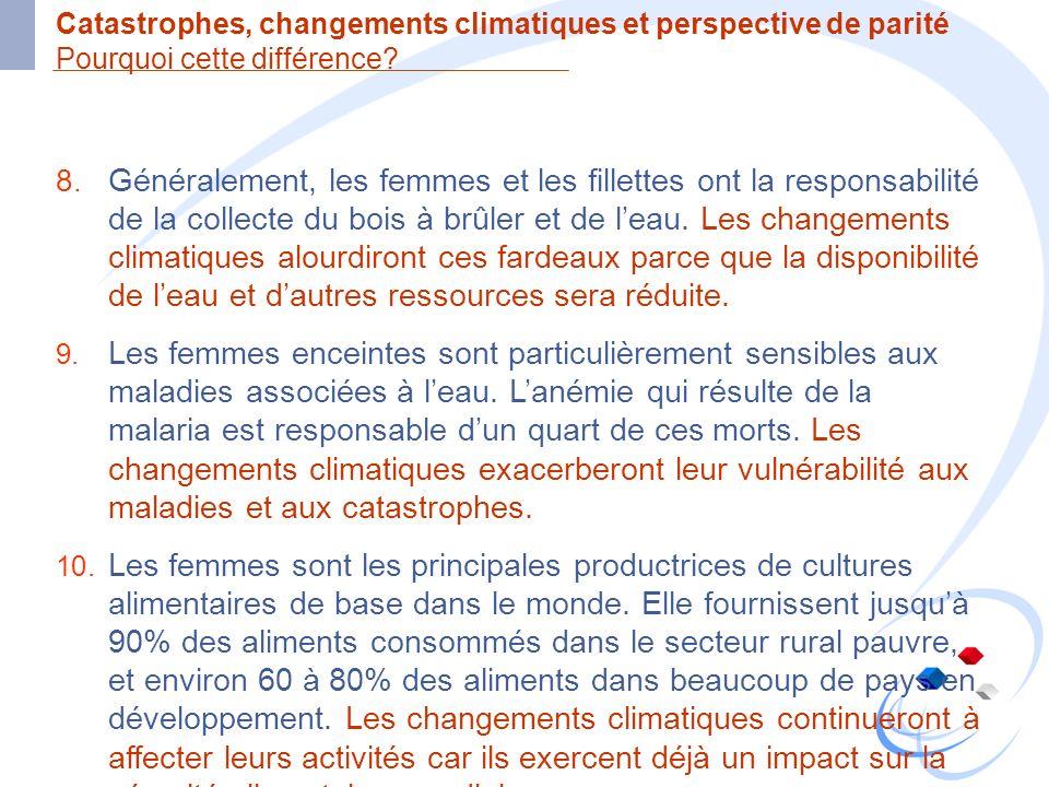 Catastrophes, changements climatiques et perspective de parité Pourquoi cette différence? 8. Généralement, les femmes et les fillettes ont la responsa