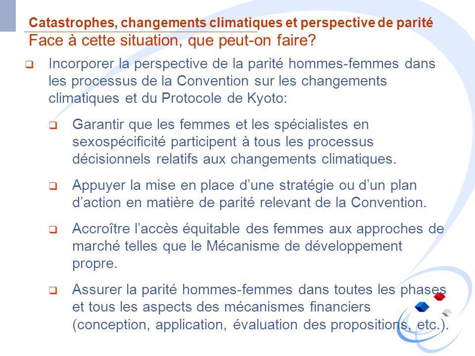 Catastrophes, changements climatiques et perspective de parité Face à cette situation, que peut-on faire? Incorporer la perspective de la parité homme