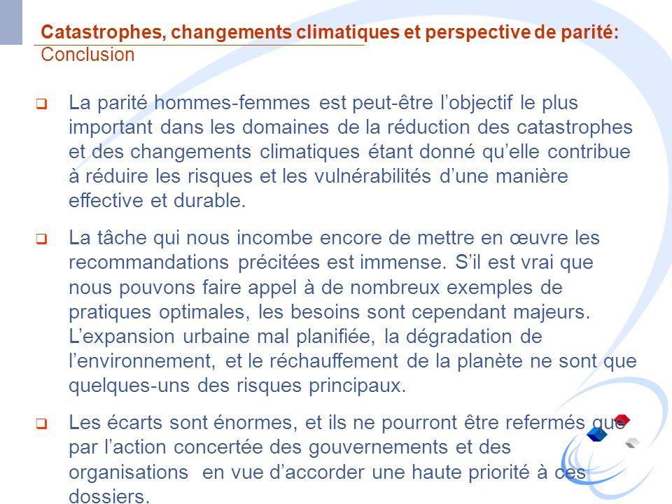 Catastrophes, changements climatiques et perspective de parité: Conclusion La parité hommes-femmes est peut-être lobjectif le plus important dans les